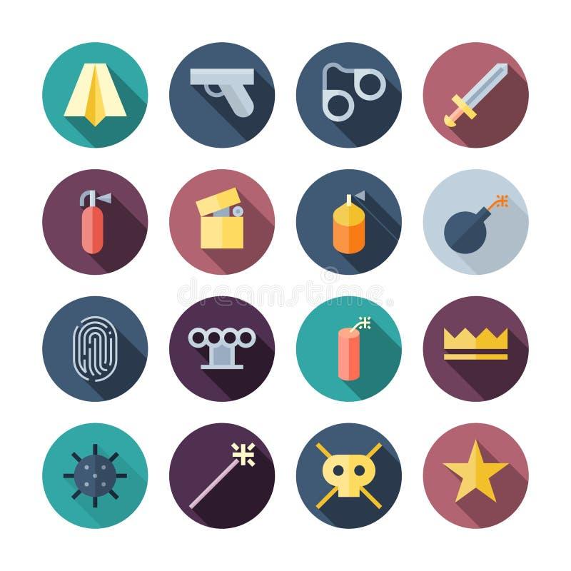 Flaches Design-verschiedene Ikonen lizenzfreie abbildung