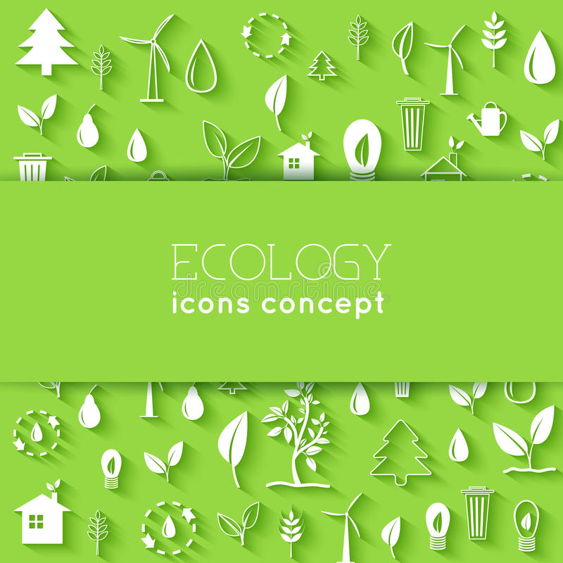 Flaches Design von Ökologie, die Umwelt, grün säubern stock abbildung