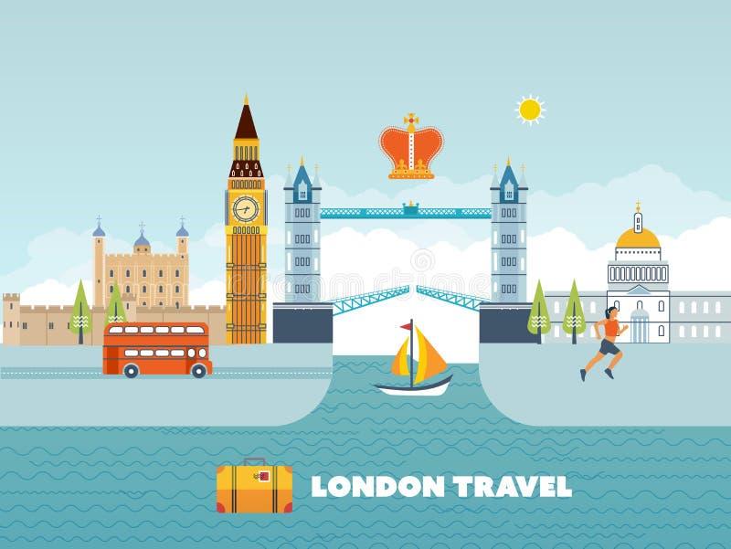 Flaches Design von London-Stadt Historisches und modernes Gebäude stock abbildung