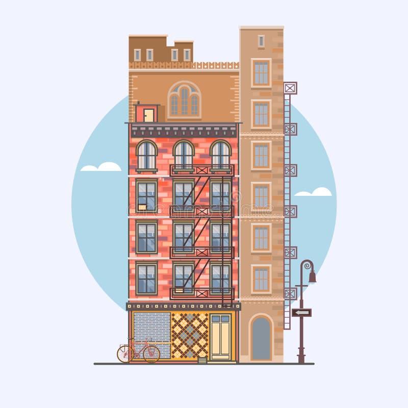Flaches Design von Retro- und modernen Stadthäusern Elemente für den Bau von Stadtlandschaften lizenzfreie abbildung