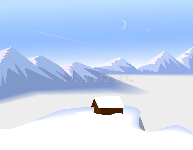 Flaches Design Winterberge gestalten mit einem kleinen Haus über den Wolken - Vektorillustration landschaftlich lizenzfreie abbildung