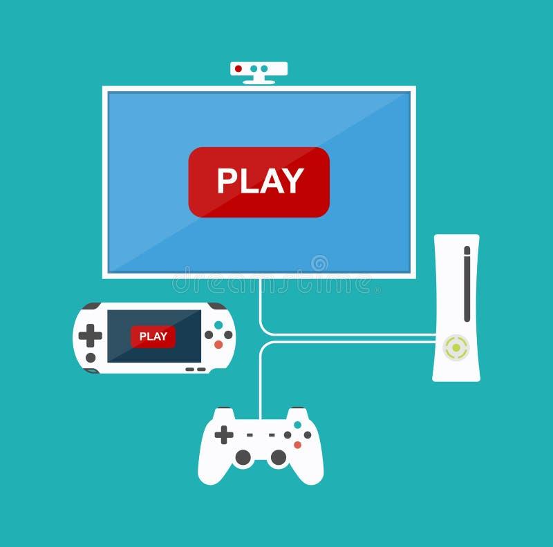 Flaches Designcomputerspielkonzept Spieleentwicklung Verschiedene Geräte Vier Schneeflocken auf weißem Hintergrund vektor abbildung