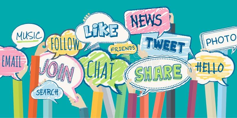 Flaches Designillustrationskonzept für Soziales Netz