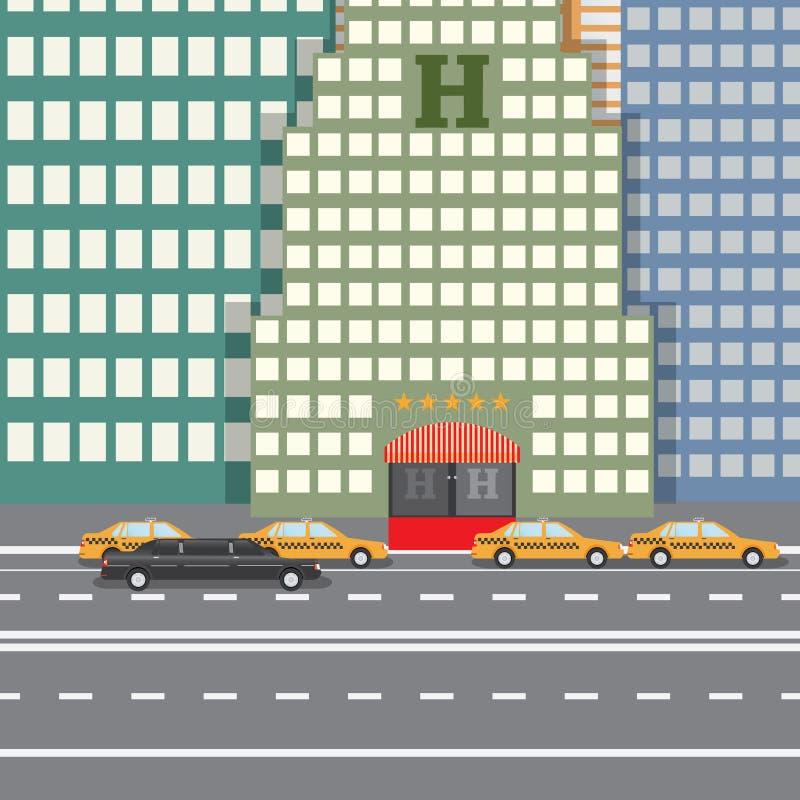 Flaches Designvektor-Illustrationskonzept für Stadt-Hotel und Parktaxi und Limousine, sityskape lizenzfreie abbildung