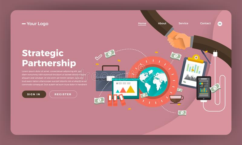 Flaches digitales Marketing des Konzeptes des Entwurfes der Modelldesignwebsite St. vektor abbildung