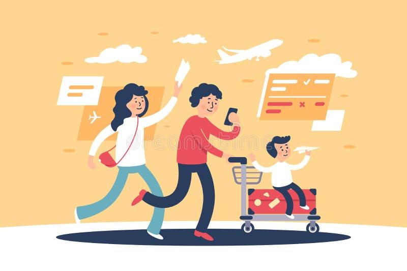 Flaches Elternteil mit Kind und reisen persönliche Einzelteile spät für Fläche stock abbildung