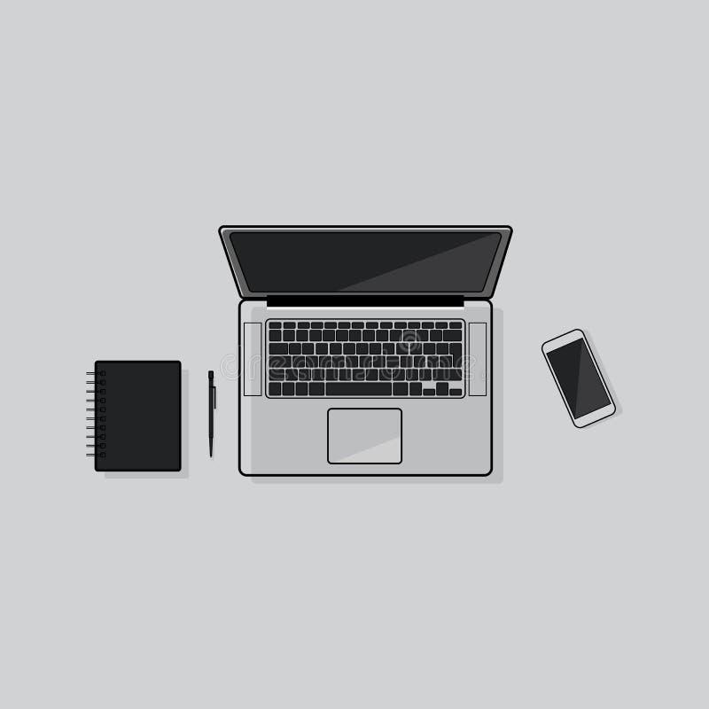 Flaches Entwurfscomputernetzwerk und -buch vektor abbildung