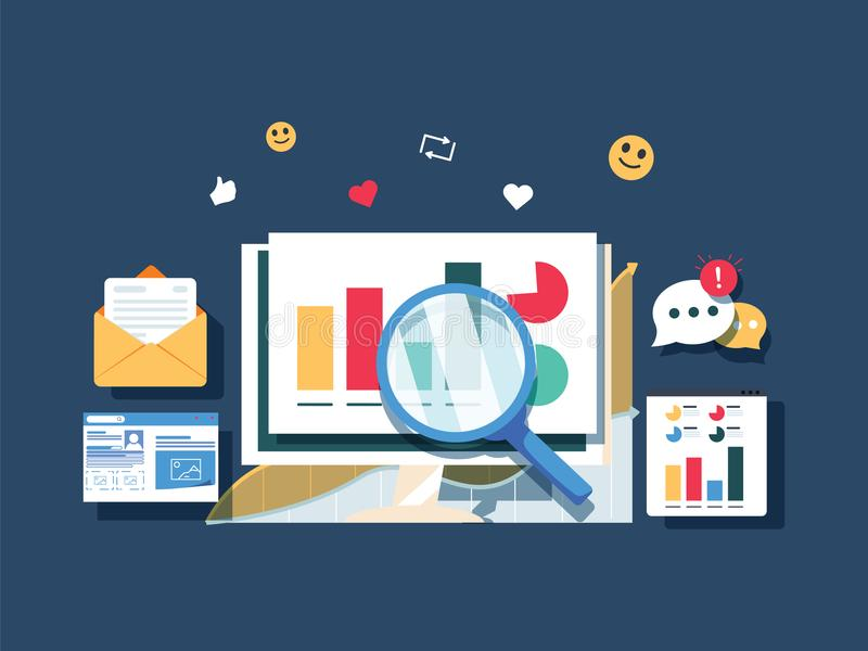 Flaches Entwurfsdatenmarketing, Analytik, Suchdaten, WebsiteVerkehrsauswertungs-Vektorfahne Diagrammanalyse stock abbildung