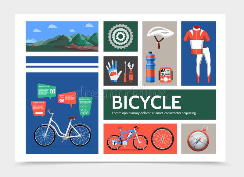 Flaches Fahrrad Infographic-Konzept stock abbildung