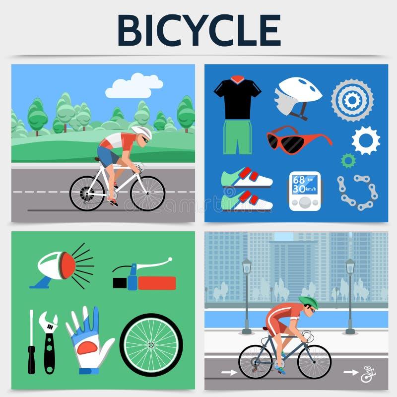 Flaches Fahrrad-Quadrat-Konzept vektor abbildung