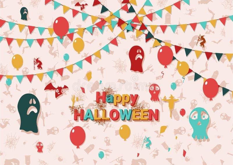 Flaches Feiertagsplakat Halloween-Karte Auch im corel abgehobenen Betrag - Datei des Vektor stock abbildung