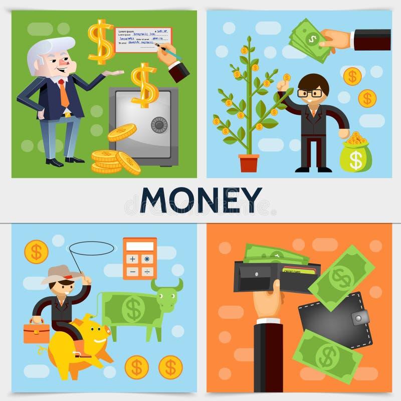Flaches Finanzquadrat-Konzept stock abbildung