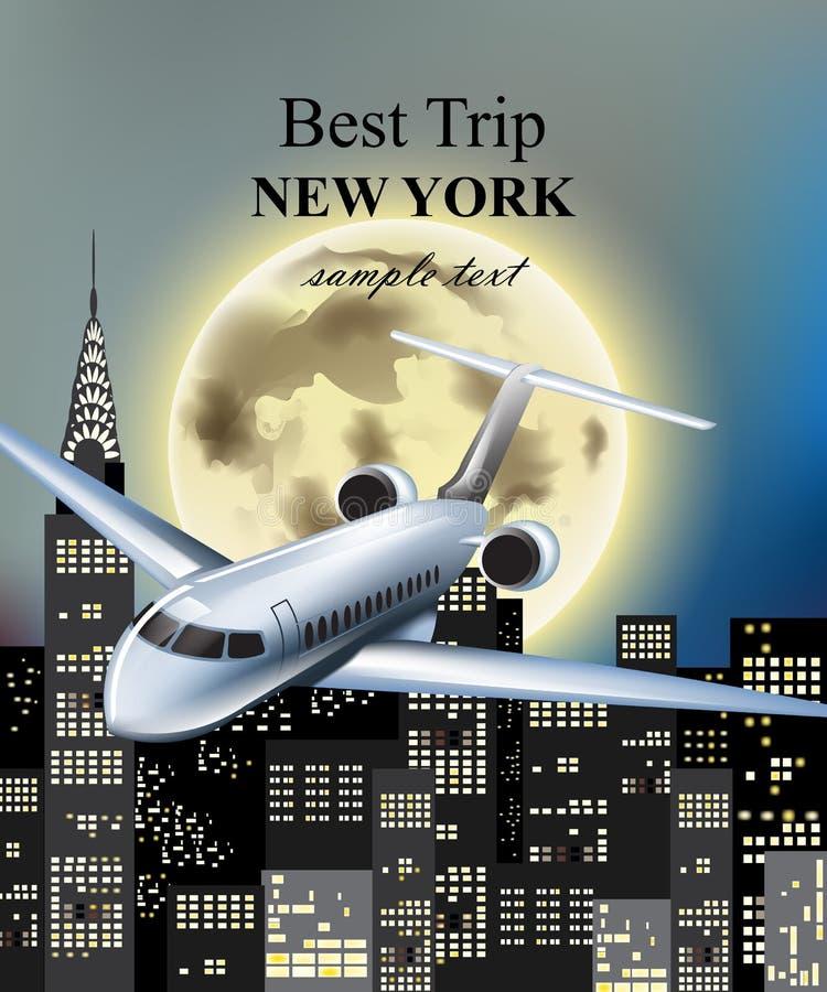 Flaches Fliegen über New York City am Nachtvektor Vollmond- und Wolkenkratzerhintergründe lizenzfreie abbildung