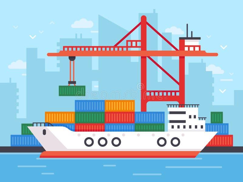 Flaches Frachtschiff in den Docks Beherbergten Sie Kran von Verschiffungshafen-Ladenbehältern zur Marinefrachtboots-Vektorillustr lizenzfreie abbildung