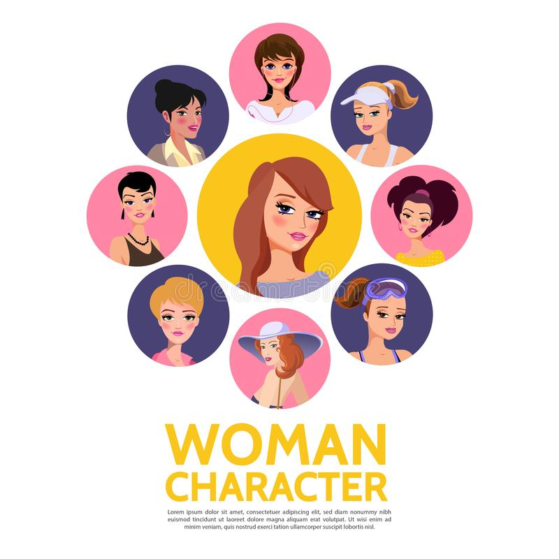 Flaches Frauen-Charakter-Avatara-Konzept stock abbildung