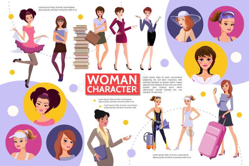 Flaches Frauen-Charaktere Infographic-Konzept vektor abbildung