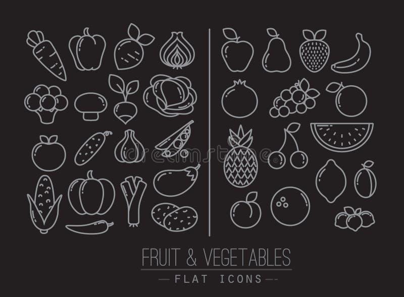 Flaches Frucht-Gemüse-Ikonen-Schwarzes vektor abbildung
