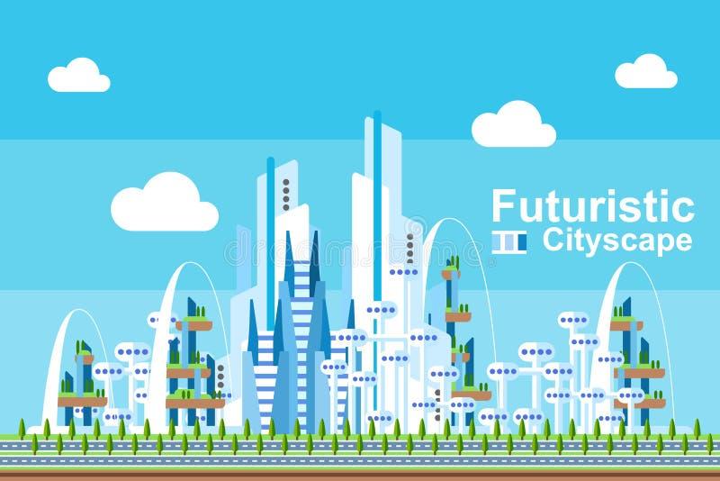 Flaches futuristisches Stadtbild - blaues Thema stock abbildung