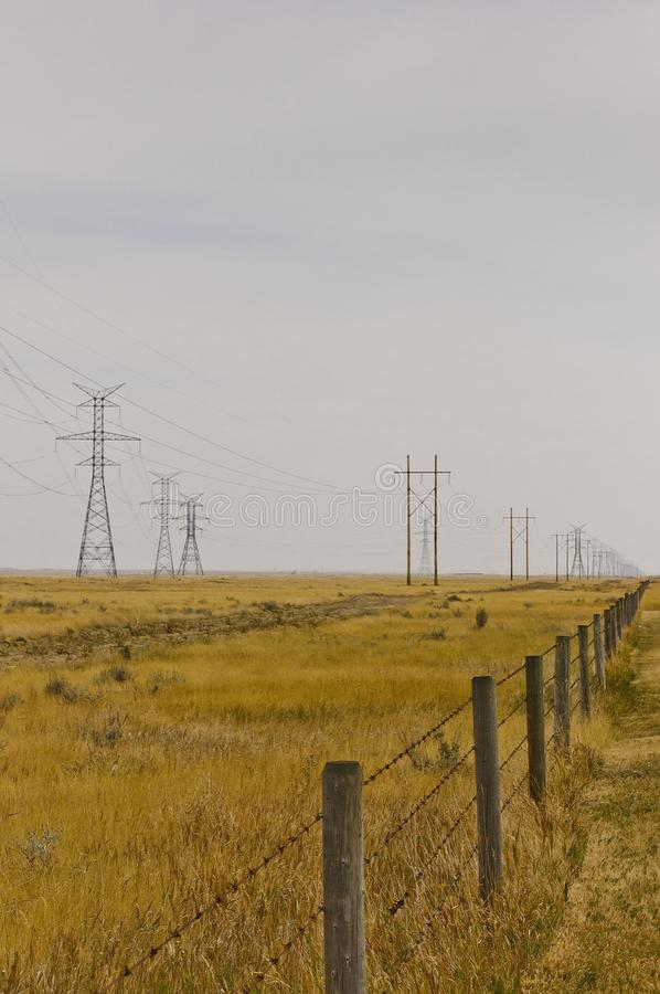 Flaches Grasland mit Metall- und Holzenergietürmen stockfotos