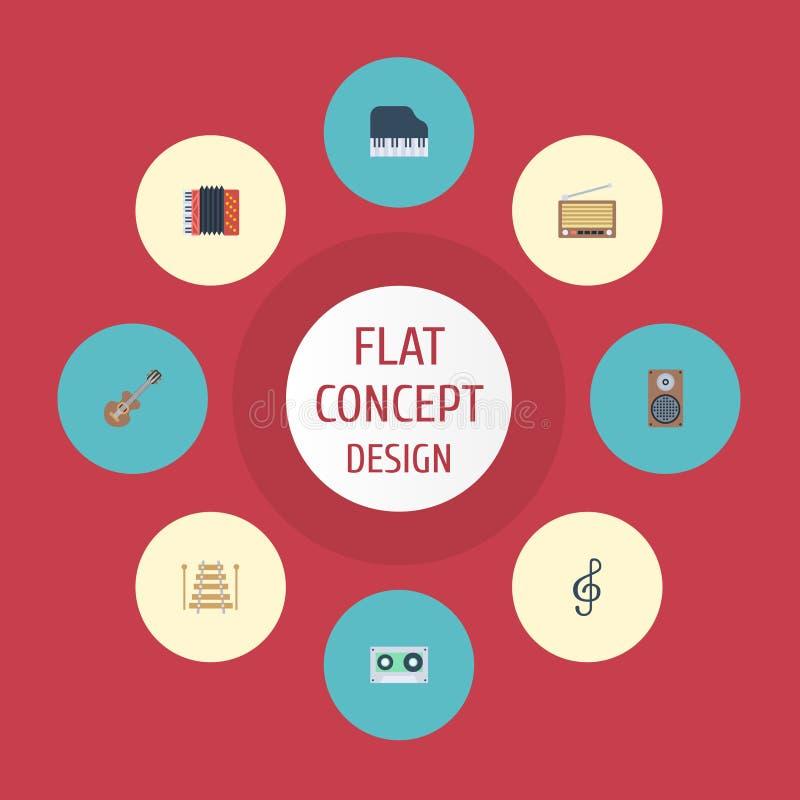 Flaches Ikonen-Band, musikalische Instrument-, akustische und anderesvektor-Elemente Satz von Melody Flat Icons Symbols Also umfa lizenzfreie abbildung