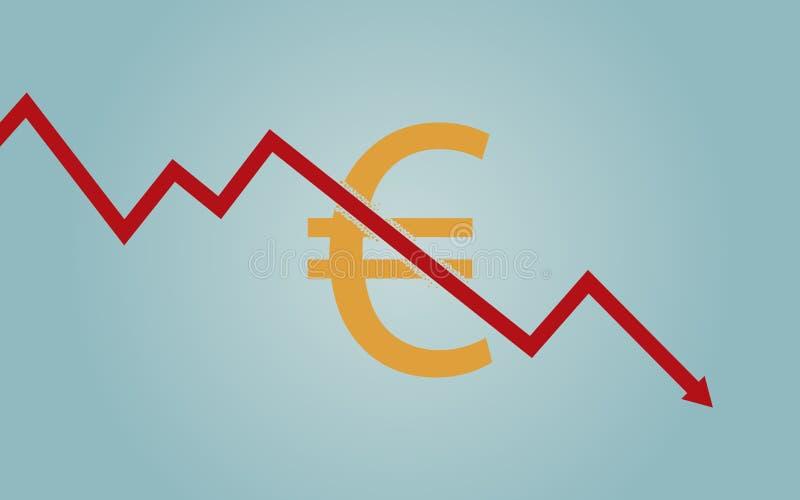 Flaches Ikonendesign der Abwärtstendenzlinie Pfeil, der durch Eurowährungszeichen auf blauem Farbhintergrund bricht vektor abbildung