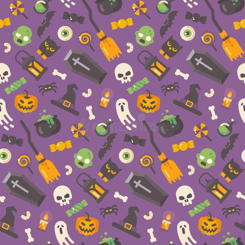 Flaches Ikonenmuster Halloweens auf purpurrotem Hintergrund vektor abbildung