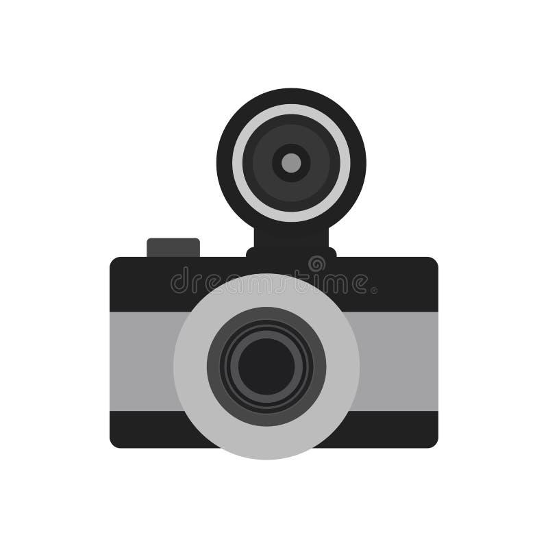 Flaches Ikonensymbol der Fotokamera Vektorphotographausrüstung lizenzfreie abbildung