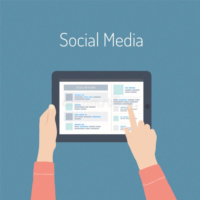Flaches Illustrationskonzept des Social Media vektor abbildung