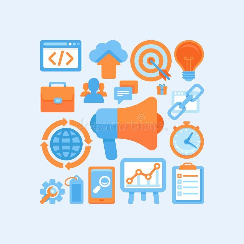 Flaches Internet-Marketing-Konzept vektor abbildung