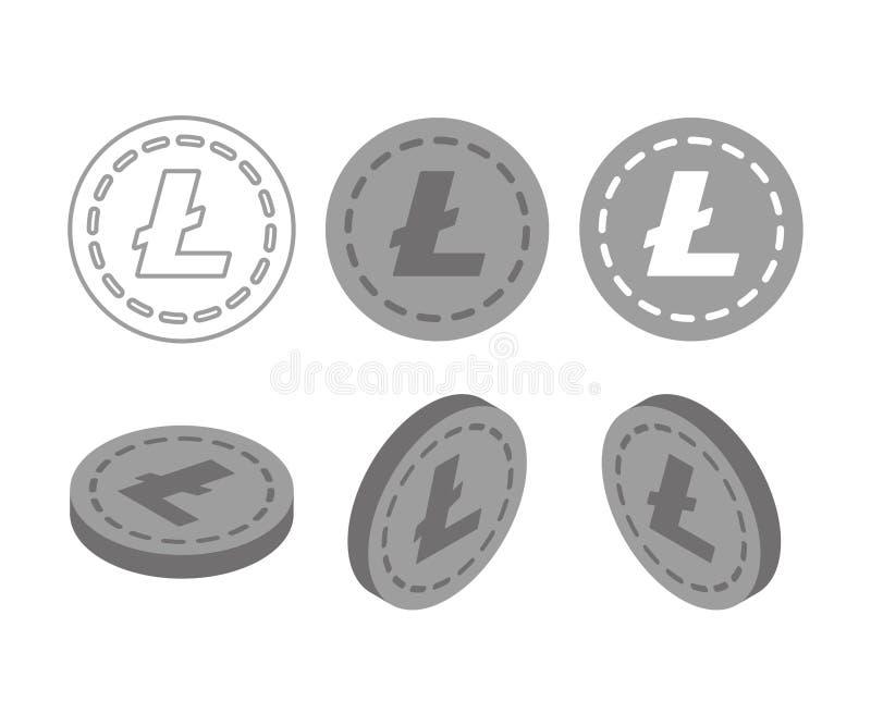 Flaches isometrisches Geld Litecoin 3d stock abbildung