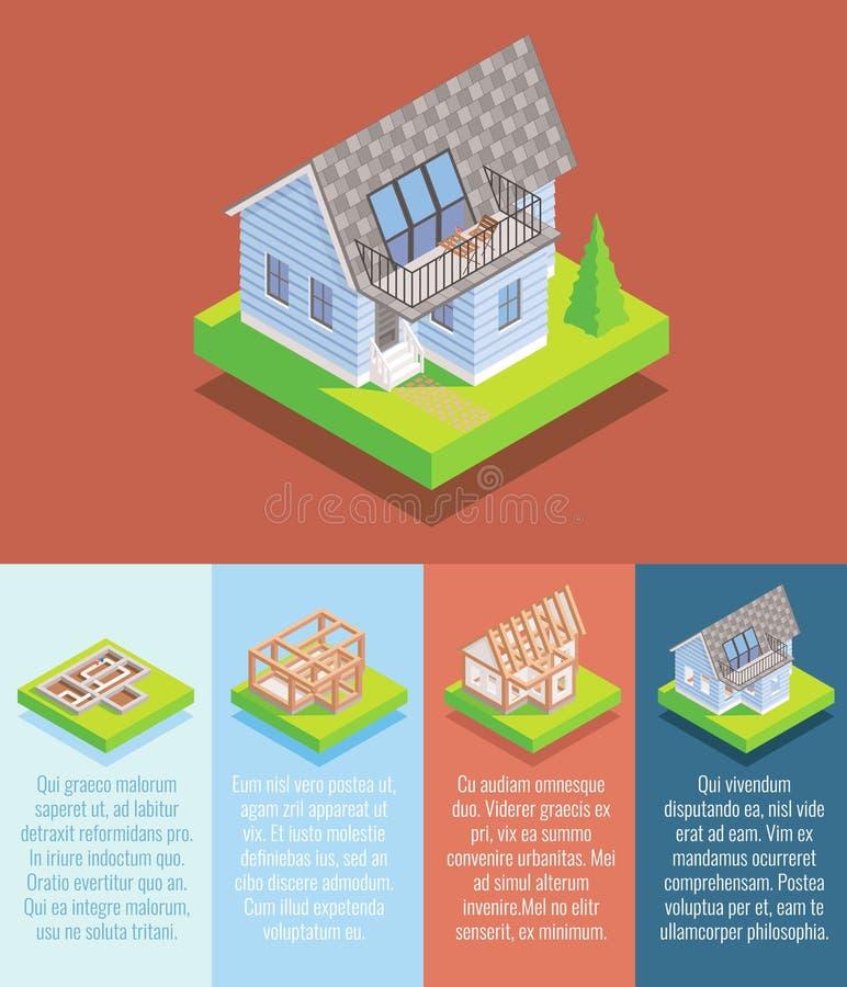 Flaches isometrisches Plakat des Häuschenbau-Vektors, Fahne lizenzfreie abbildung