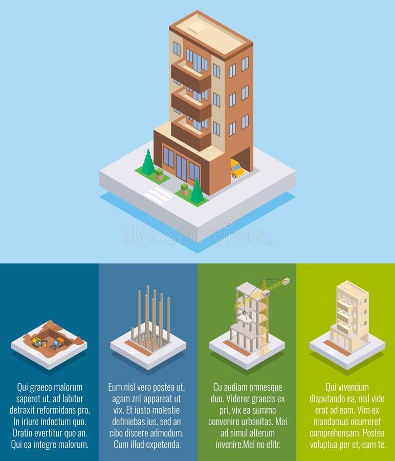 Flaches isometrisches Plakat des Wohnungsbau-Vektors, Fahne lizenzfreie abbildung