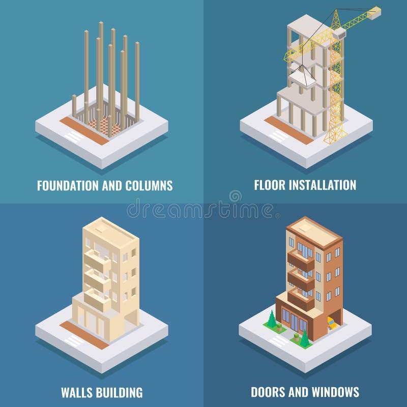 Flaches isometrisches Plakat des Wohnungsbau-Vektors, Fahnensatz stock abbildung