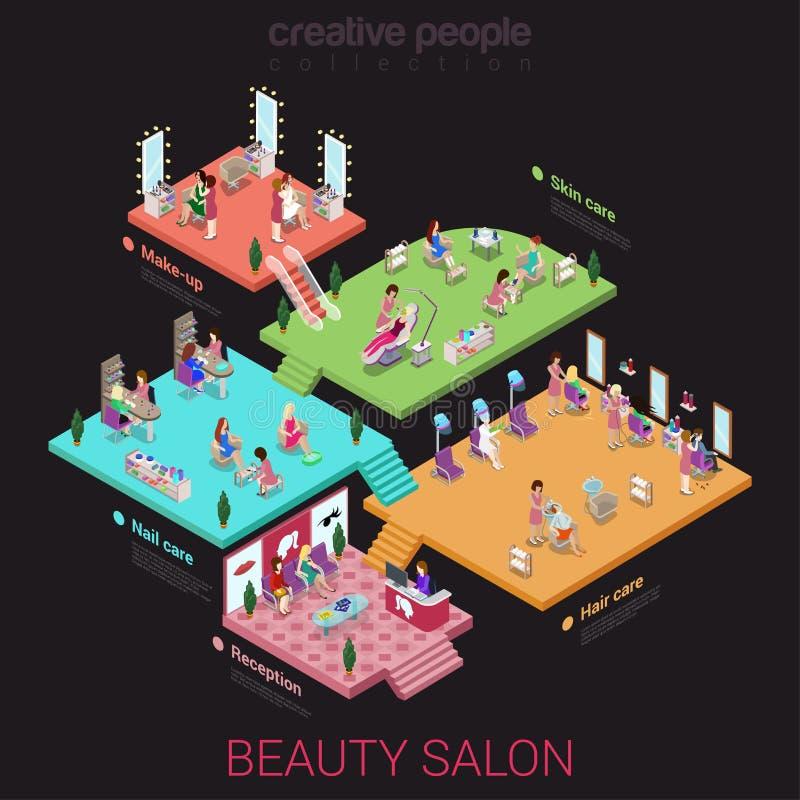 Flaches isometrisches Salonkonzept der Schönheit 3d lizenzfreie abbildung