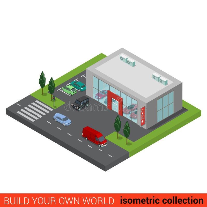 Flaches isometrisches Selbstauto-vertragshändler-Verkaufsgebäude lizenzfreie abbildung