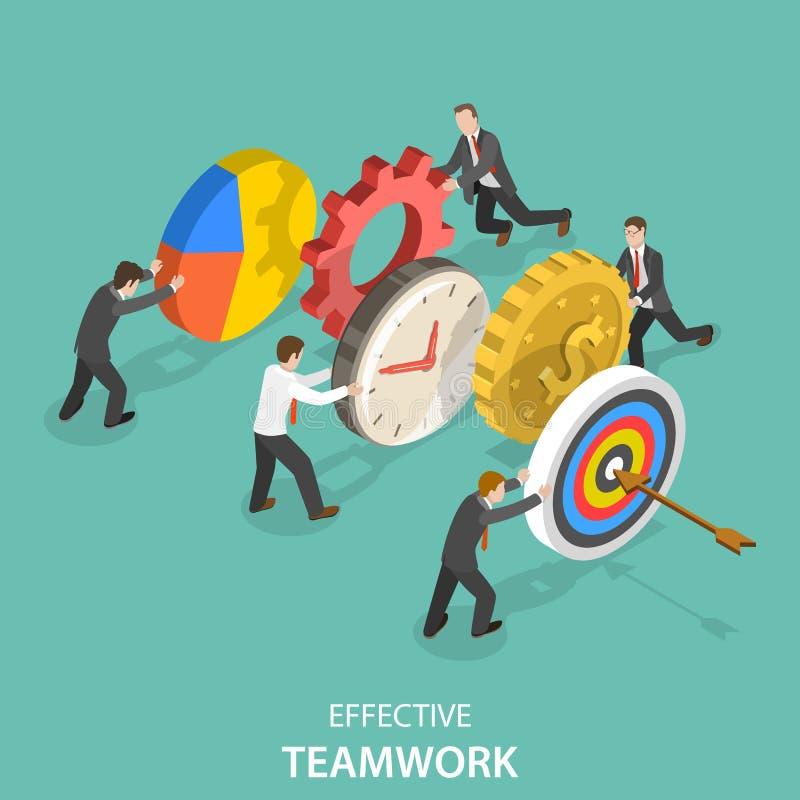 Flaches isometrisches Vektorkonzept der effektiven Teamwork vektor abbildung