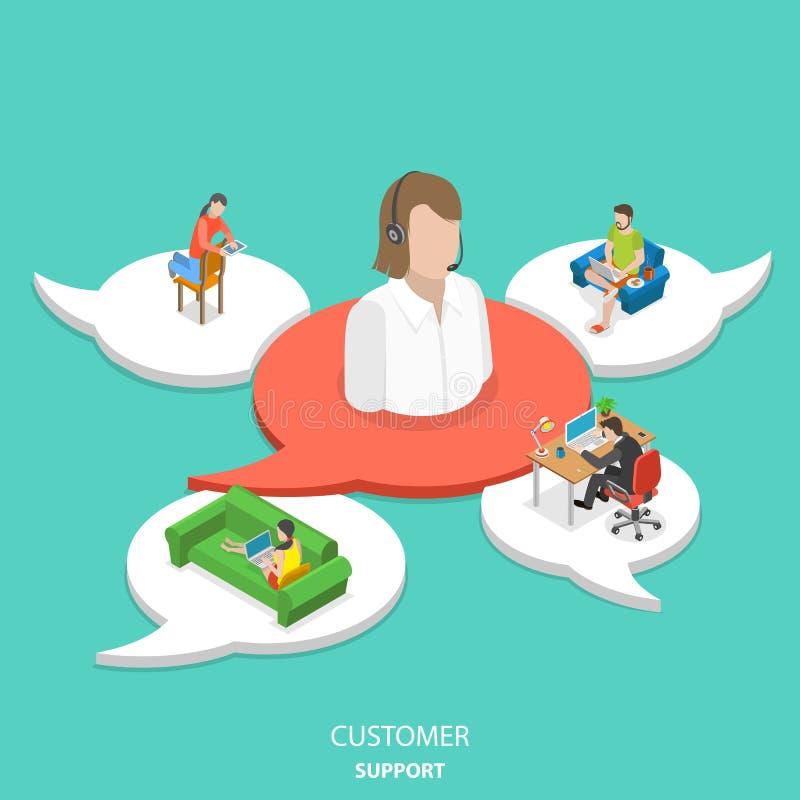 Flaches isometrisches Vektorkonzept der Kundenbetreuung stock abbildung
