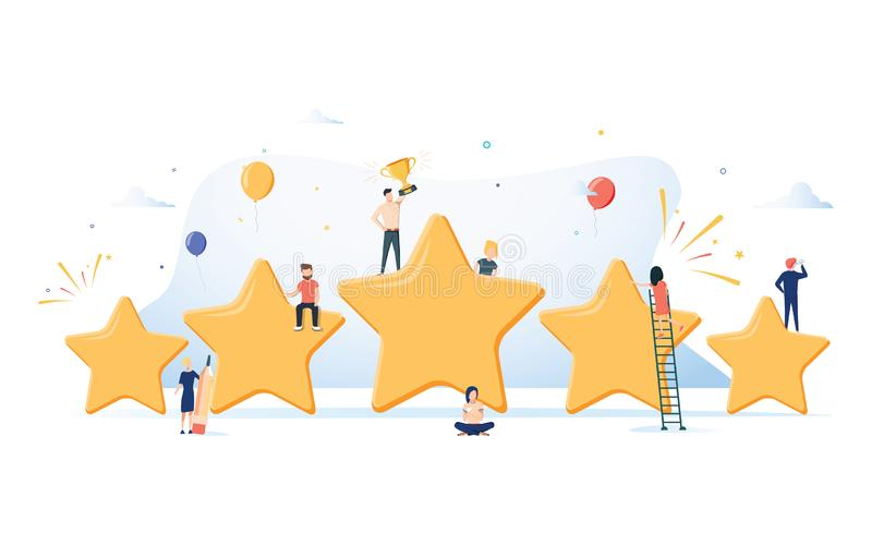 Flaches isometrisches Vektorkonzept von fünf Sternen, beste Bewertung, Kundenfeedback, positiver Bericht Siegerpreis erster Platz stock abbildung