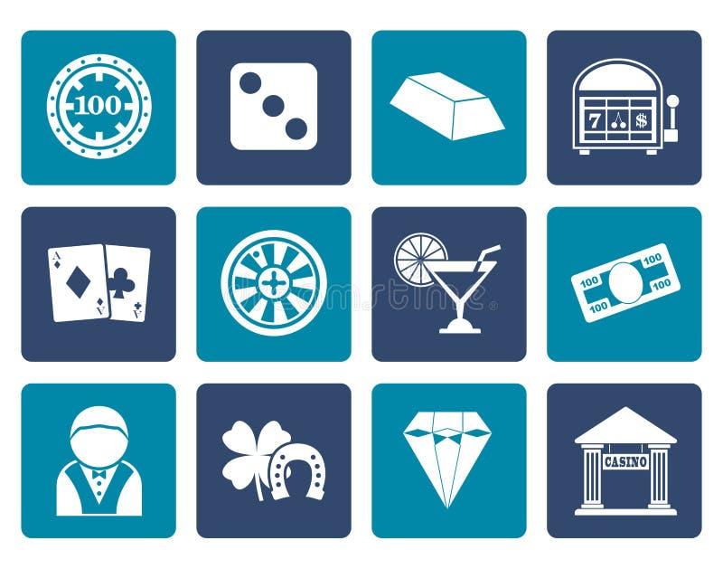 Flaches Kasino und spielende Ikonen stock abbildung