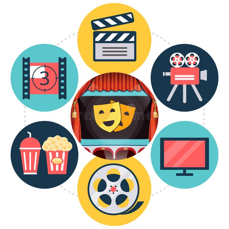 Flaches Kino-Konzept lizenzfreie abbildung