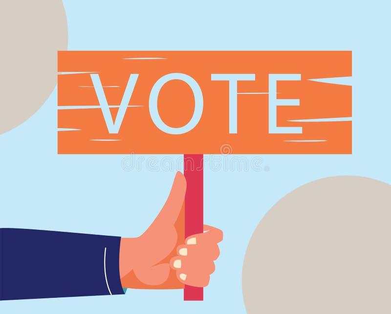 Flaches Konzept der Abstimmungs- und Wahlfahne mit Handikone stock abbildung