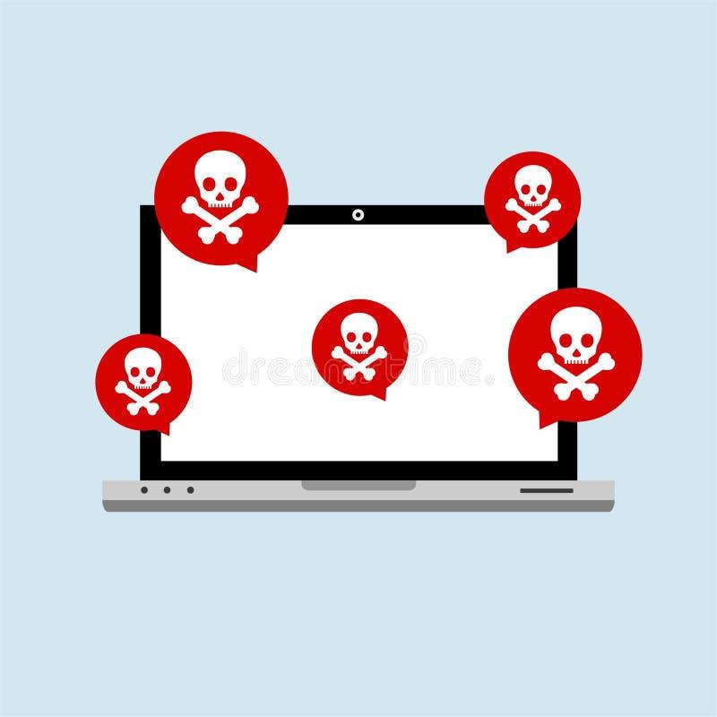 Flaches Konzept der Hackerinternet-ComputerSicherheitstechnik Hackertätigkeitscomputer Wachsame Mitteilung auf Laptop-Computer, vektor abbildung