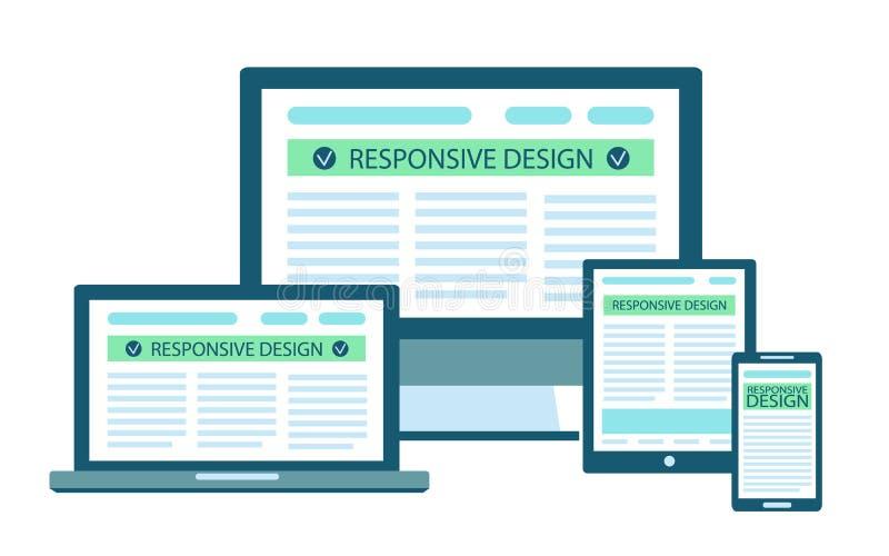 Flaches Konzept des entgegenkommenden Websitedesigns in den elektronischen Geräten: Computer, Laptop, Tablette, Handy stock abbildung