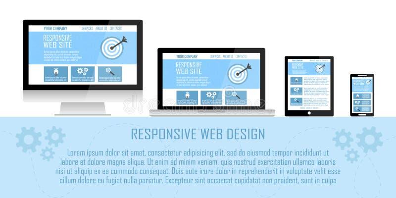 Flaches Konzept des entgegenkommenden Websitedesigns in den elektronischen Geräten: Computer, Laptop, Tablette, Handy lizenzfreie abbildung