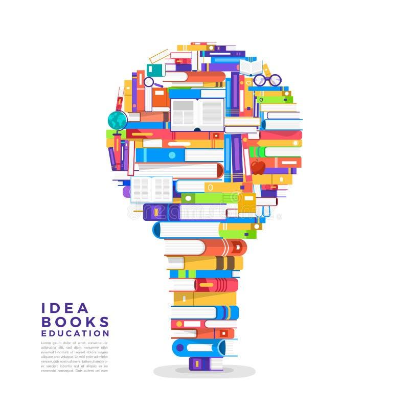 Flaches Konzept des Entwurfes das Buch ist eine Glühlampe Gründen Sie ein Buch zu I lizenzfreie abbildung
