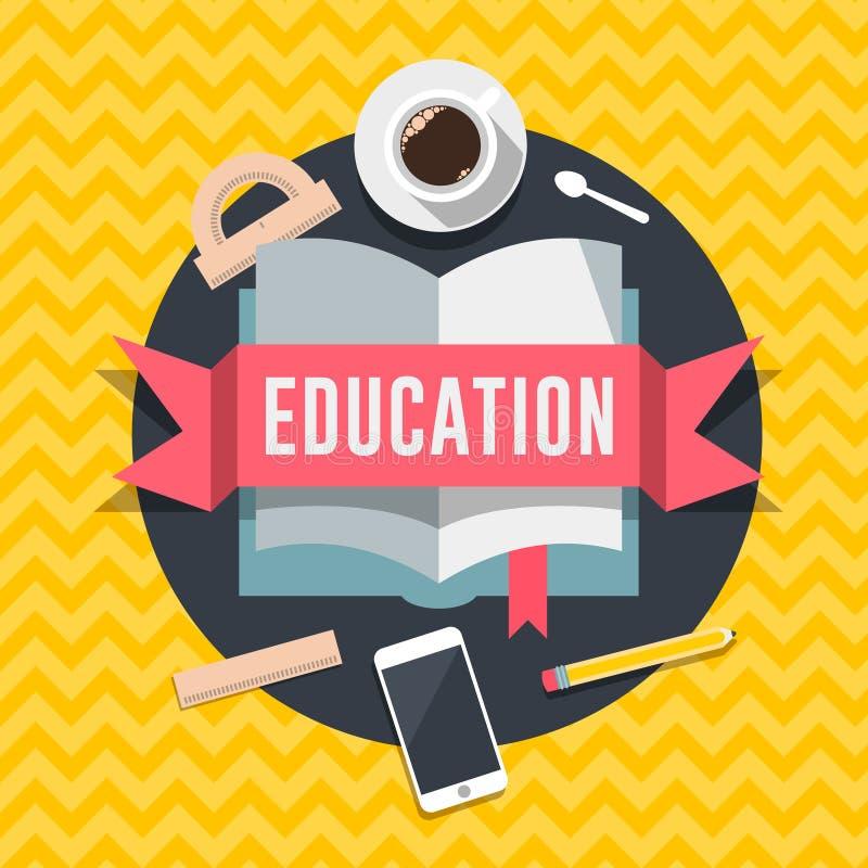 Flaches Konzept des Entwurfes der Bildung für Netz und bewegliche Dienstleistungen und apps vektor abbildung
