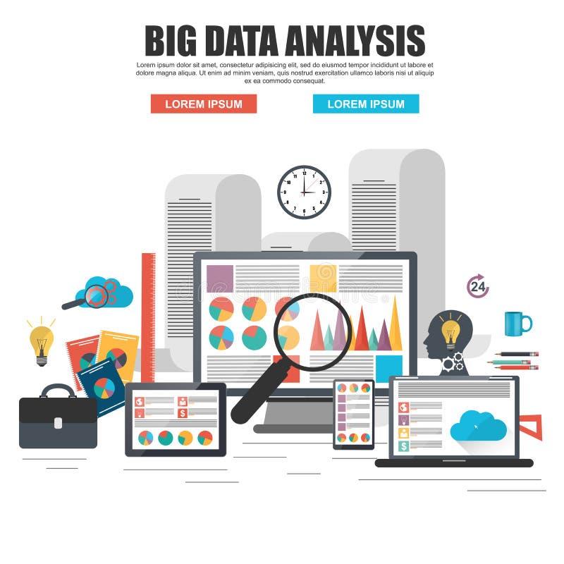 Flaches Konzept des Entwurfes der großen Datenanalyse des Geschäfts vektor abbildung