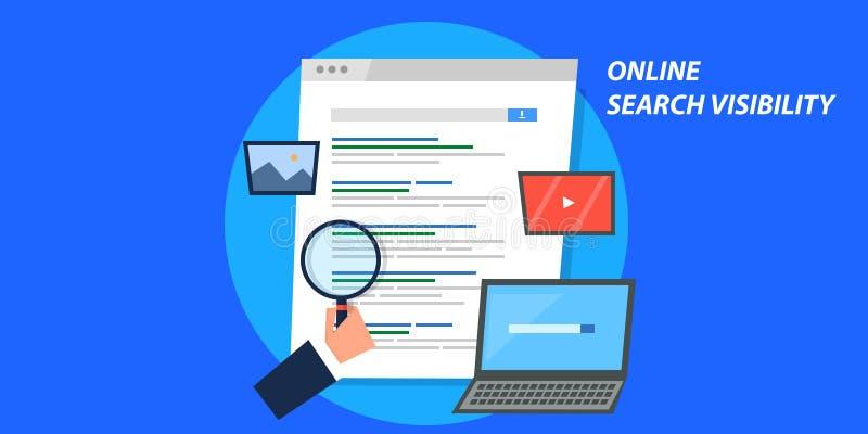 Flaches Konzept des Entwurfes der on-line-Suchsicht, seo Optimierung, digitales Marketing vektor abbildung
