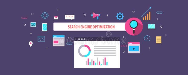 Flaches Konzept des Entwurfes der Suchmaschinen-Optimierung, des seo, der Suchklassifizierung und der Sicht auf Netz stock abbildung