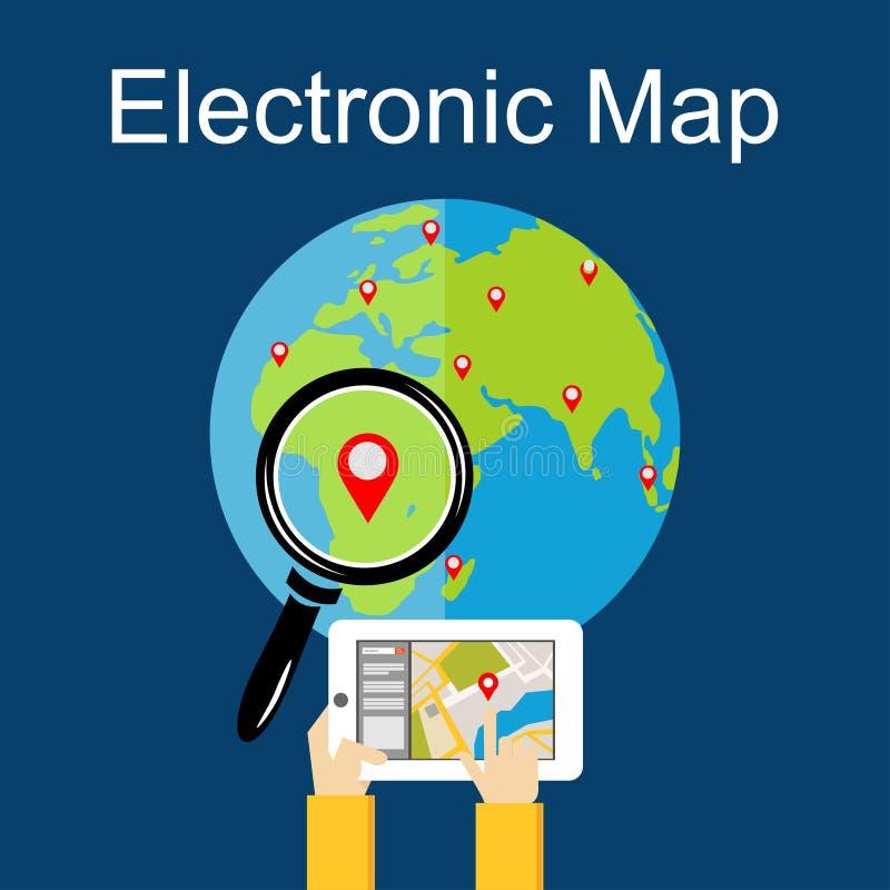 Flaches Konzept des Entwurfes für elektronische Karte, Navigation Suchen eines Platzes stock abbildung